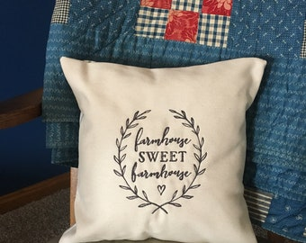 Farmhouse Sweet Farmhouse Pillow Cover - Ticking Pillow Cover