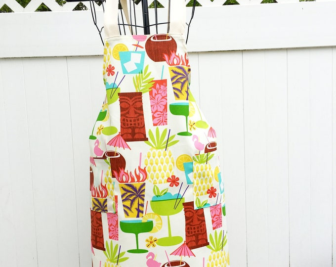 Featured listing image: Tropical Cocktail Apron - Cross Strap Apron - Bartender Apron