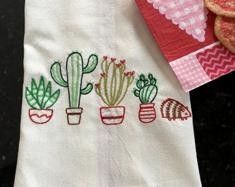 Cactus and Hedgehog Tea Towel