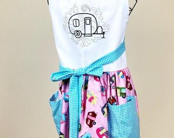 Vintage Trailer Apron - Retro Camper Full Skirt Apron