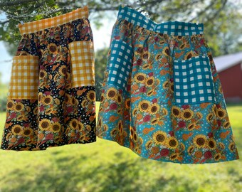 Sunflower Half Apron - Gathered Skirt Farm Apron