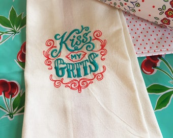 Kiss My Grits Tea Towel - Sassy Kitchen Towel