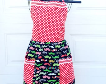 Christmas Mustache Apron - Gathered Skirt Full Apron - Staching Through the Snow Apron