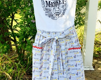 Farmhouse Style Apron - Farmer's Market Apron -Chicken Full Skirt Apron