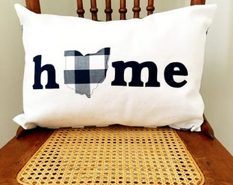 Ohio Home Pillow - I Heart Ohio Navy Farmhouse Check Pillow Cover - Ohio Home Pillow Cover