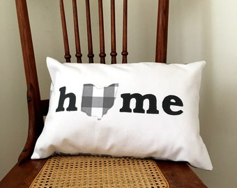 Ohio Home Pillow - I Heart Ohio Gray Farmhouse Check Pillow Cover - Ohio Home Pillow Cover