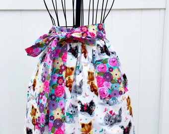 Kitten Party Gathered Skirt Apron - Half Novelty Valentine Apron