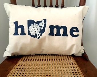 Ohio Home Pillow - I Heart Ohio Pillow Chambray Embroidered Cover - Ohio Home Pillow Cover