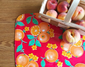 Reversible Oilcloth Placemat Set - Fruit and Flowers Red Oilcloth and Red and Whitle polka Dot Reversible Placemats