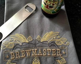Beer Brewmaster Embroidered Towel - Beer Lover's Towel