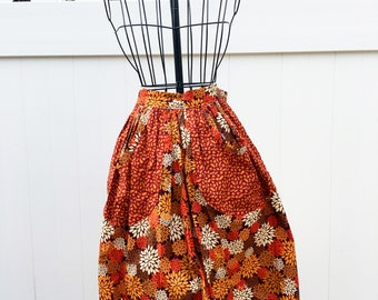 Fall Leaf Retro Style Apron - Vintage 1940s Simplicity Pattern Apron - Apron with Pockets