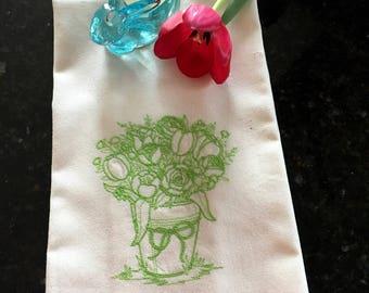 Spring Flower Basket Embroidered Tea Towel - Easter Kitchen Tea Towel