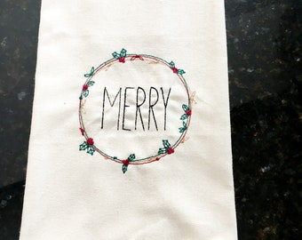 Merry Embroidered Tea Towel - Farmhouse Christmas Kitchen Tea Towel