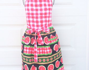 Watermelon Print Apron - Red and White Gathered Skirt Full Apron