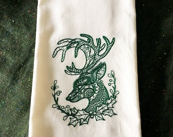 Christmas Buck Embroidered Tea Towel - Holiday Tea Towel
