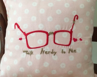 Valentine's Talk Nerdy to Me Pillow Cover - Valentine's Pillow Cover - Pink Embroidered Pillow