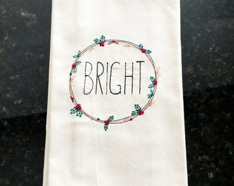 Bright Embroidered Tea Towel - Farmhouse Christmas Kitchen Tea Towel