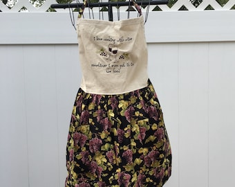 Wine Lover's Apron - Embroidered Grapes Apron Gathered Skirt Full Apron