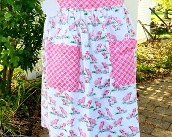 Pig Apron - Piggy Half Apron - Gathered Skirt Farm Apron