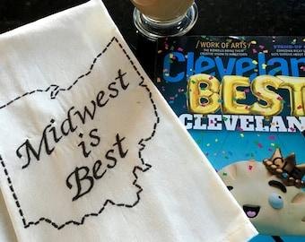 Midwest is Best Embroidered Tea Towel - Ohio Tea Towel