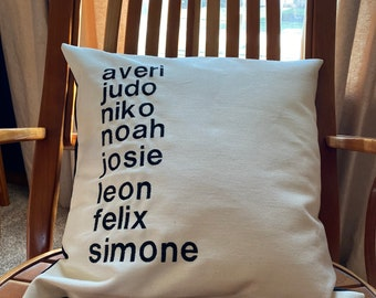 Name Pillow Cover - Grandchild, Child, Family Names Pillow Cover