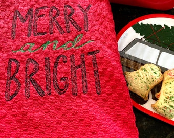 Merry and Bright Tea Towel - Embroidered Christmas Terry Towel