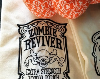 Zombie Reviver Halloween Embroidered Tea Towel - Kitchen Tea Towel