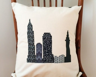 Cleveland Skyline Pillow Cover - CLE Fabric Art Pillow