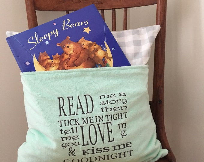 Featured listing image: Reading Pillow Cover - Read Me a Story Reading Pillow - Book Pocket Pillow