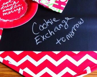 Table Runner - Red and White Chevron 48 Inch Table Runner // Chalk Cloth Table Runner