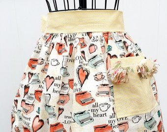 Valentine Love Note  Retro Print Gathered Skirt Apron - Half Novelty Apron