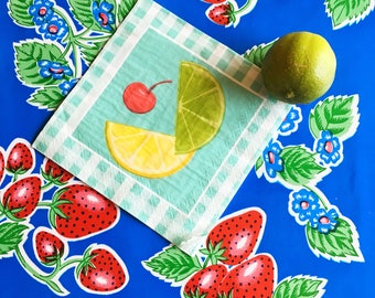Reversible Oilcloth Placemat Set - Strawberry and Bright Blue and White Gingham Reversible Placem