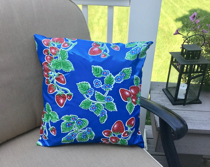 Featured listing image: Strawberry Oilcloth Pillow Cover - Indoor Outdoor Pillow