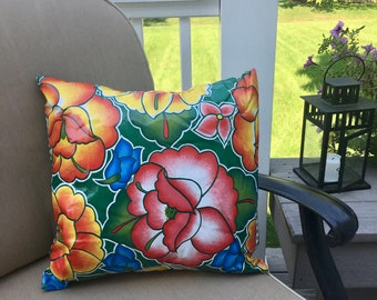 Green Floral Oilcloth Pillow Cover - Indoor Outdoor Pillow