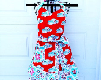 Red Truck Kitchen Apron - Full Apron with Flounce - Baking Kitsch Apron