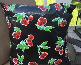 Black Cherry Oilcloth Pillow Cover - Indoor Outdoor Pillow