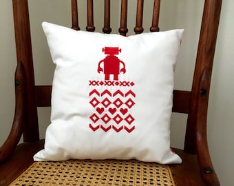 Christmas Robot Cross Stitch Pillow Cover - Christmas Robot Pillow Cover