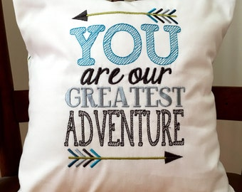 You Are Our Greatest Adventure Embroidered Pillow Cover - Child's Embroidered Pillow Cover