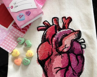 Anatomical Heart Tea Towel - Valentine Heart Embroidered Tea Towel