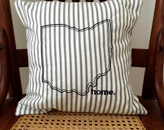 Ohio Home Pillow - Ohio Pillow Cover - Ohio Home Pillow Cover