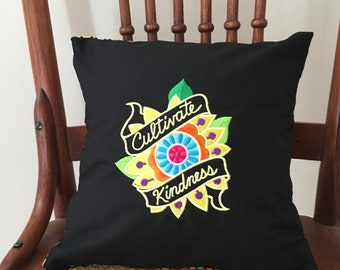 Cultivate Kindness Pillow Cover - Embroidered Saying Pillow