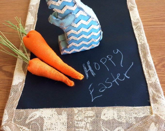 Featured listing image: Easter Bunny Burlap Table Runner // Chalk Cloth Table Runner