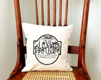 Valentine's Pillow - Apothecary Label Pillow Cover - Love Potion No.9 Pillow - Embroidered Pillow