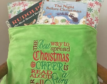 Christmas Reading Pillow -  Elf Christmas Pillow - Book Pocket Pillow