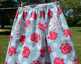 Floral Half Apron - Gathered Skirt Farm Apron
