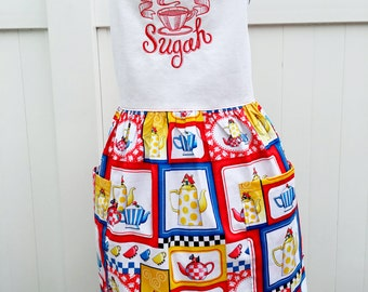 Give Me Some Sugah - Embroidered Teapot Apron Gathered Skirt Full Apron