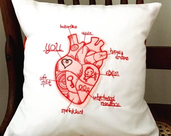 Anatomical Heart Valentine's Pillow - Valentine's Heart Pillow