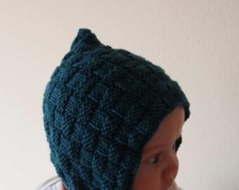 baby bonnet pattern - baby pixie hat pattern - pdf knit baby and newborn bonnet pattern