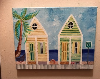 Hand Painted Original Painting On 11x14 Canvas, Key West Conch Houses