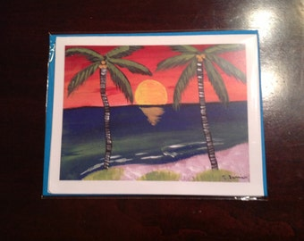 Notecards Blank  Original Art Key West Pam Tree Sunset 4.25 x 5.5